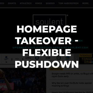 Responsive sized pushdown integrated into all NBC Regional Sports Networks homepages.